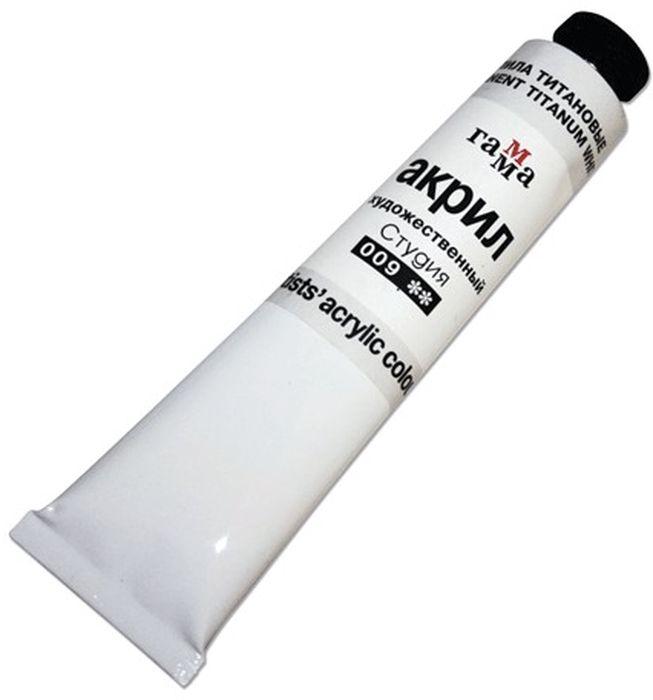 Краска акриловая Гамма, цвет: 009 белила титановые, 46 мл