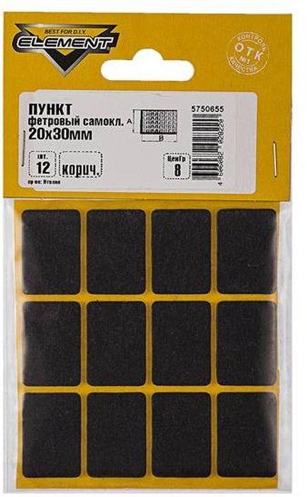 Пункт Element, фетровый, самоклеящийся, цвет: коричневый, 20 х 30 мм, 12 шт пункт element резиновый самоклеящийся цвет черный диаметр 40 мм 4 шт