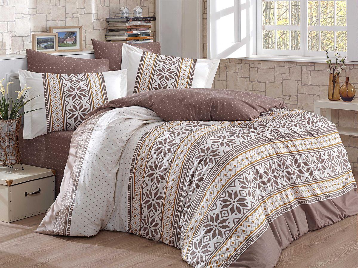 """Комплект белья Hobby Home Collection """"Carla"""", 1,5-спальный, наволочки 50x70, 70x70, цвет: коричневый"""
