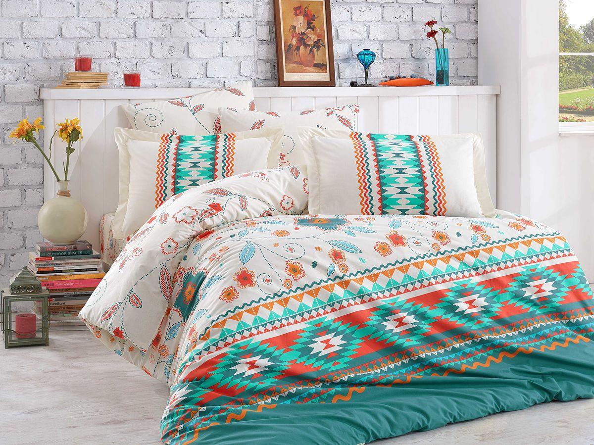 """Комплект белья Hobby Home Collection """"Francesca"""", 1,5-спальный, наволочки 50x70, 70x70, цвет: зеленый"""