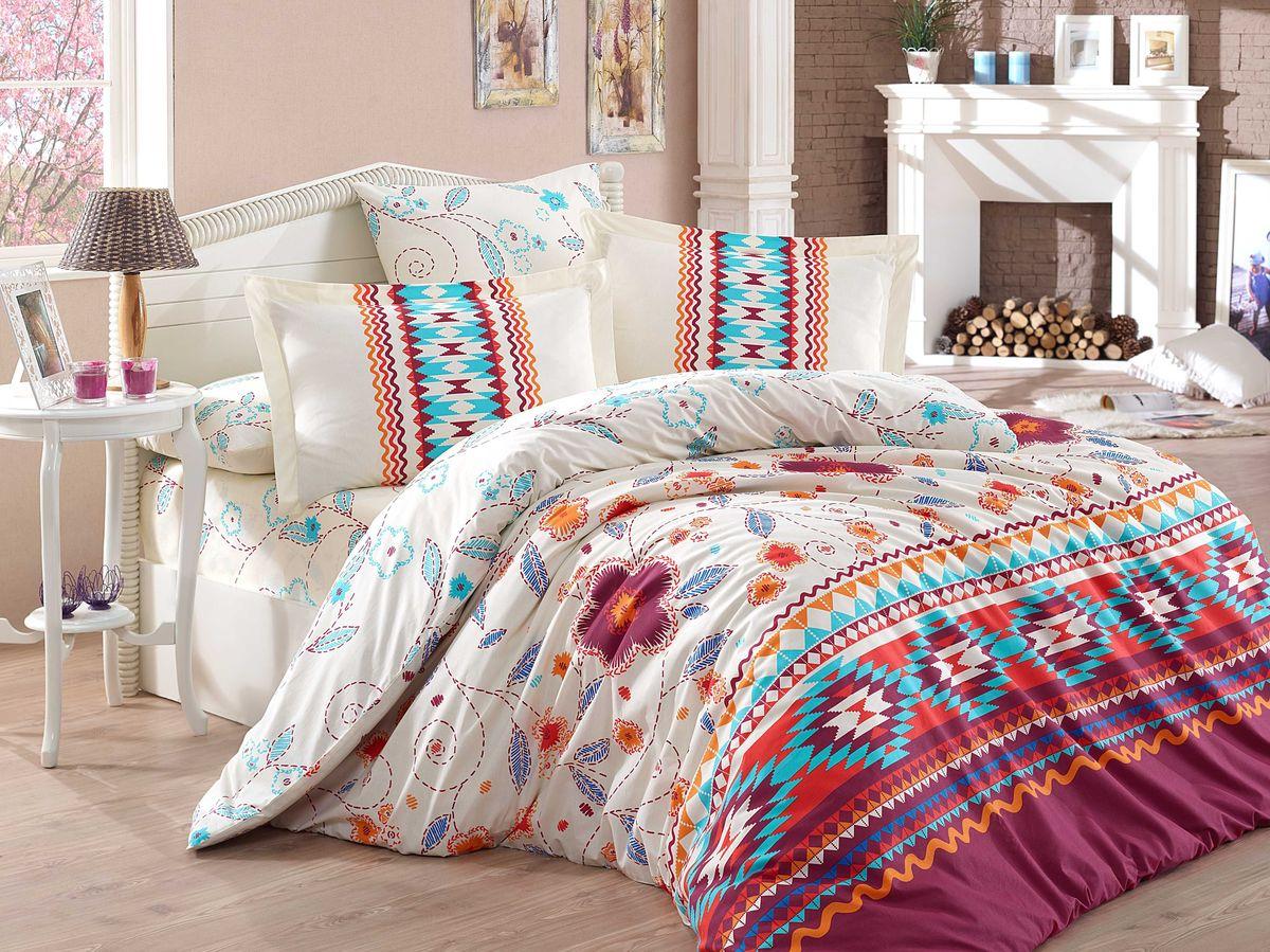 """Комплект белья Hobby Home Collection """"Francesca"""", 1,5-спальный, наволочки 50x70, 70x70, цвет: бордовый"""