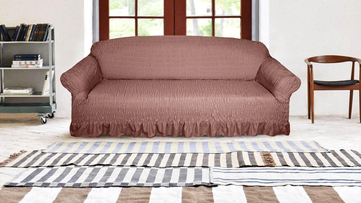 Чехол на трехместный диван Медежда Дэйзи, цвет: шоколадный цена