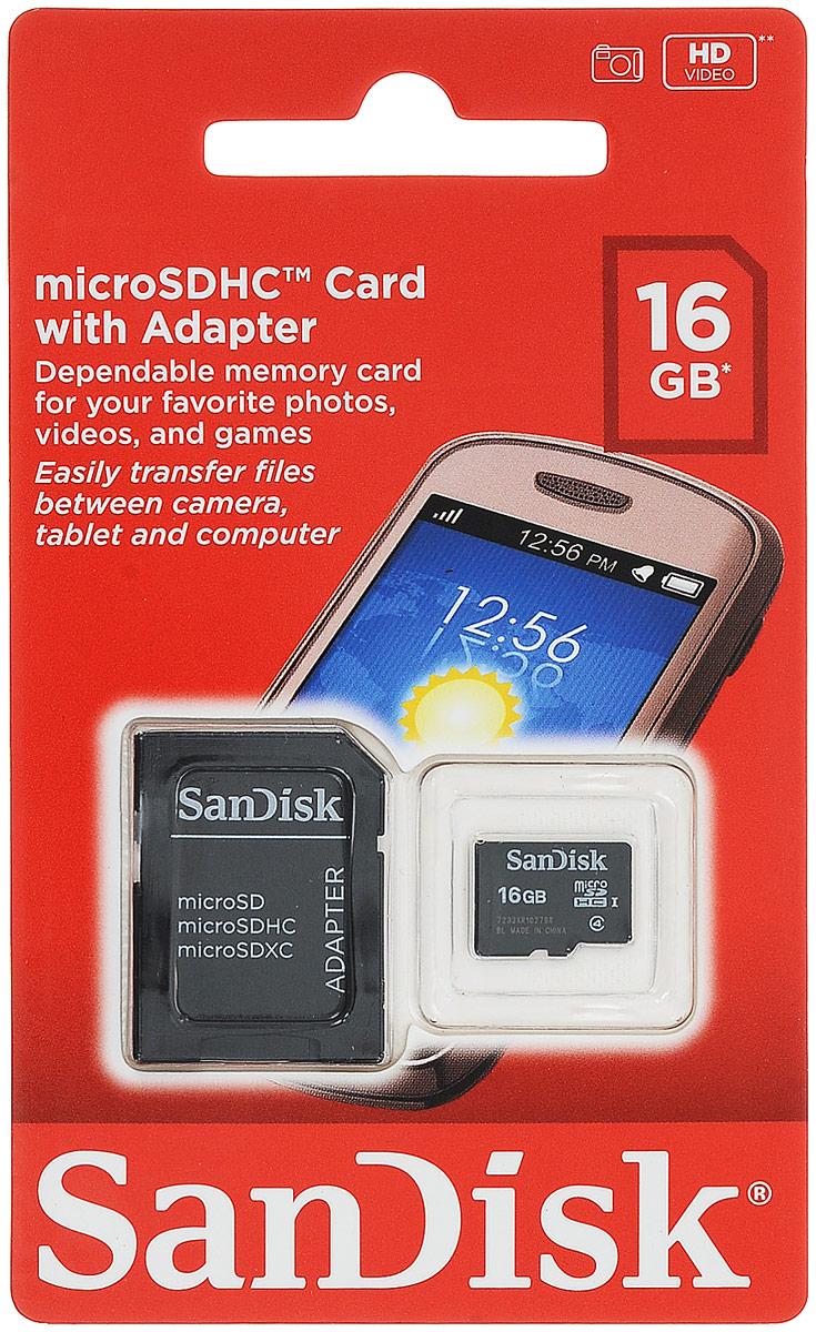SanDisk microSDHC Class 4 16GB карта памяти с адаптером карта памяти microsdhc sandisk ultra 16gb class 10 с адаптером white grey