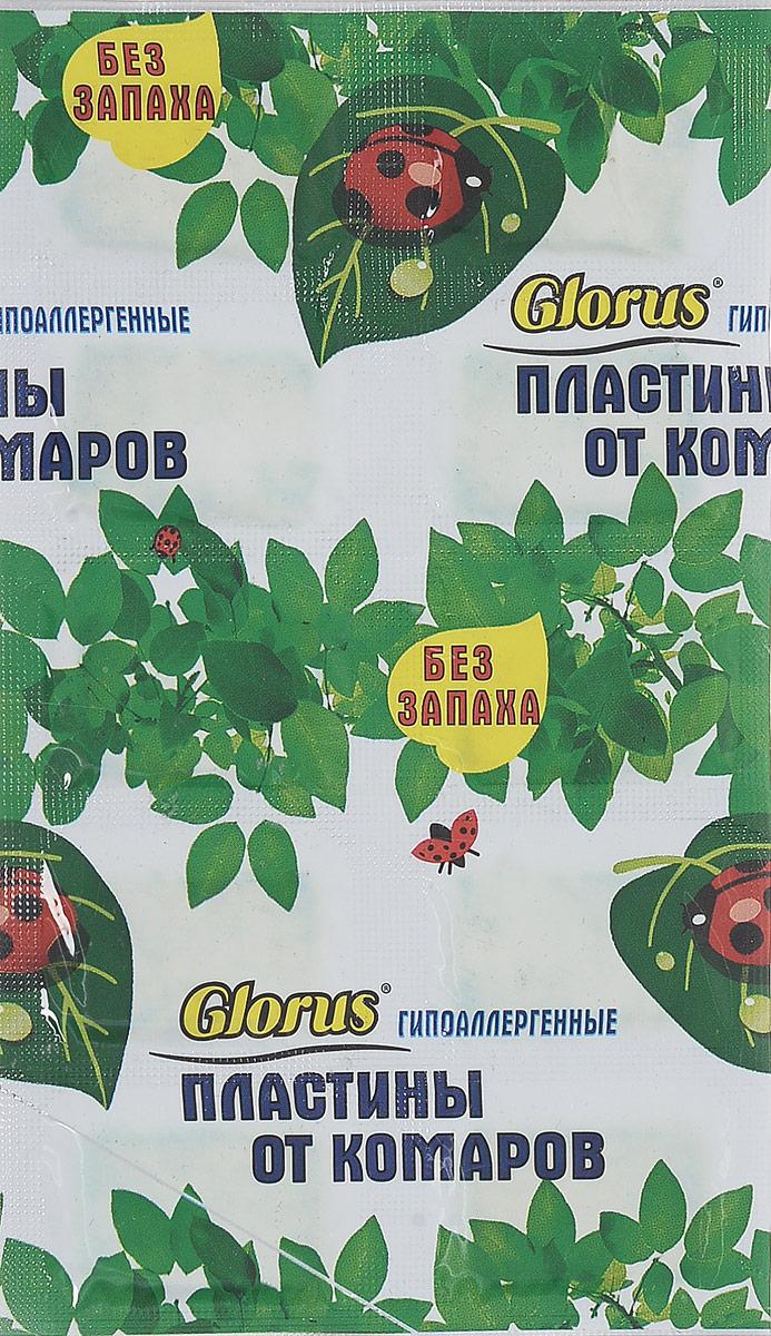 Пластины от комаров Glorus, без запаха, 10 шт рейд электрофумигатор пластины от комаров 10шт