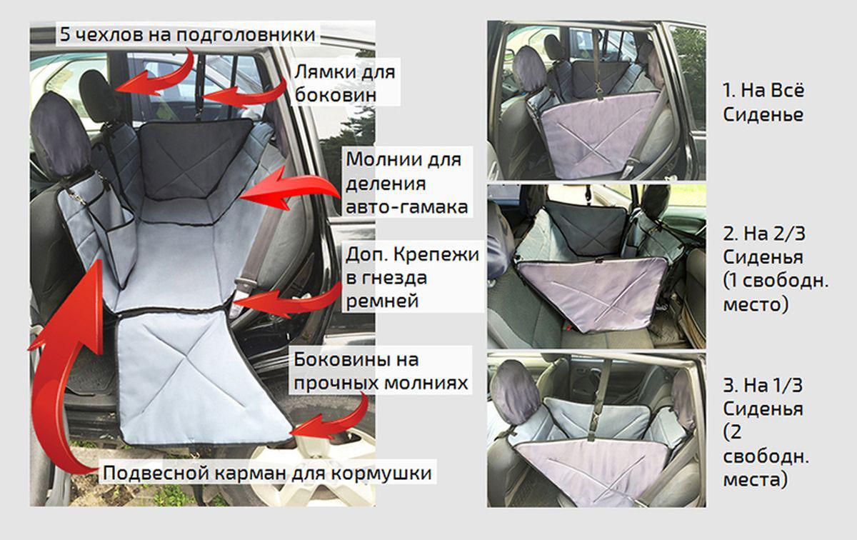 Автогамак для перевозки для крупных собак Auto Premium, от 20 кг, трансформер, с защитой дверей. 77046 автогамак для для перевозки собак auto premium на переднее сиденье 77048
