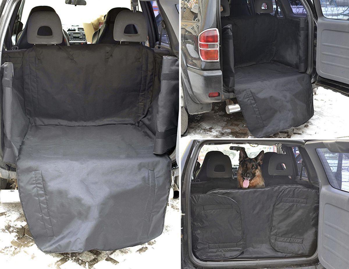 Автогамак для перевозки собак Auto Premium, усиленный, в багажник, на липучке, цвет: черный. 77053 автогамак auto premium для перевозки некрупных собак