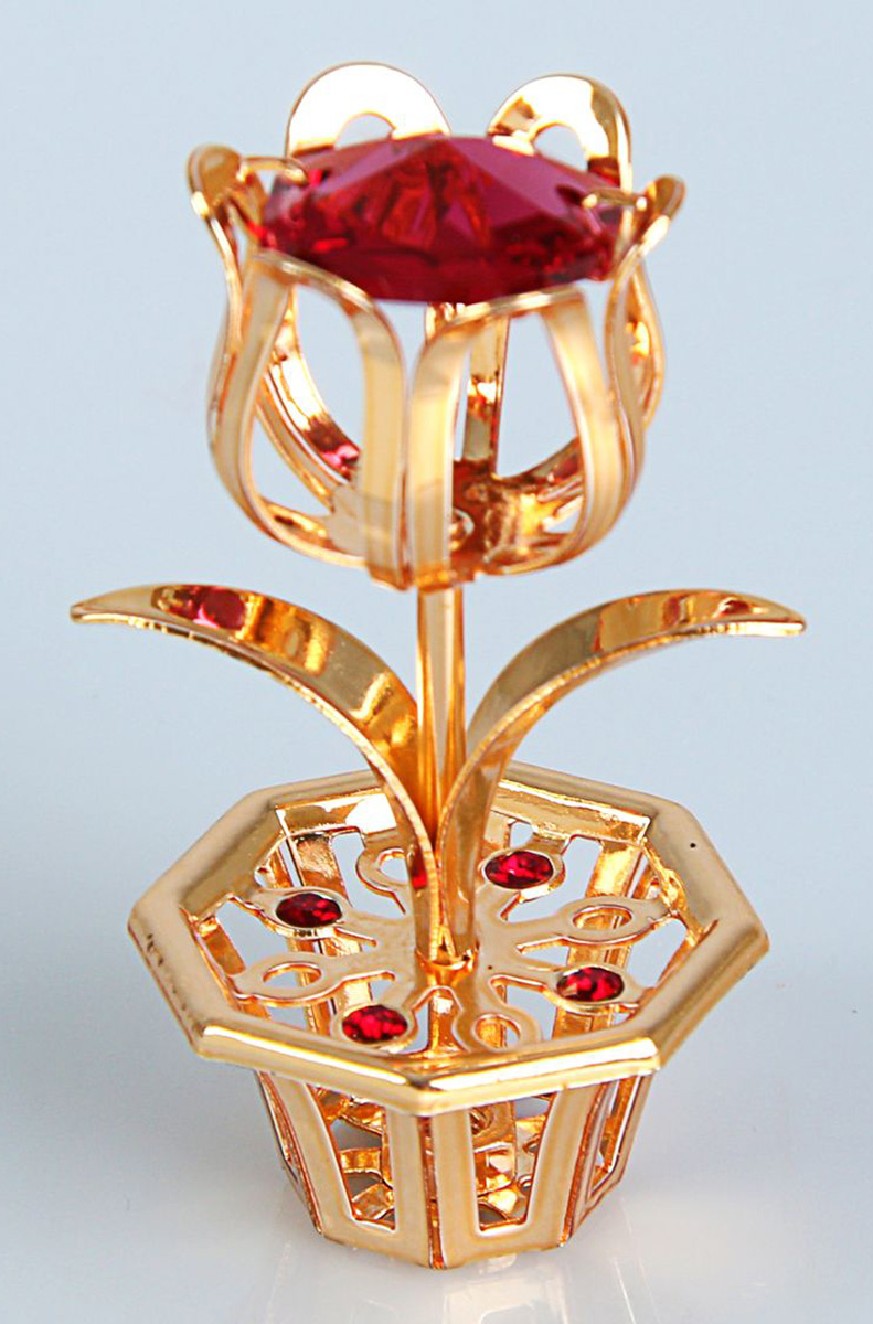 Миниатюра Цветок, с кристаллами Сваровски, 3 х 5 х 8 см. 1925021 сувенир цветок
