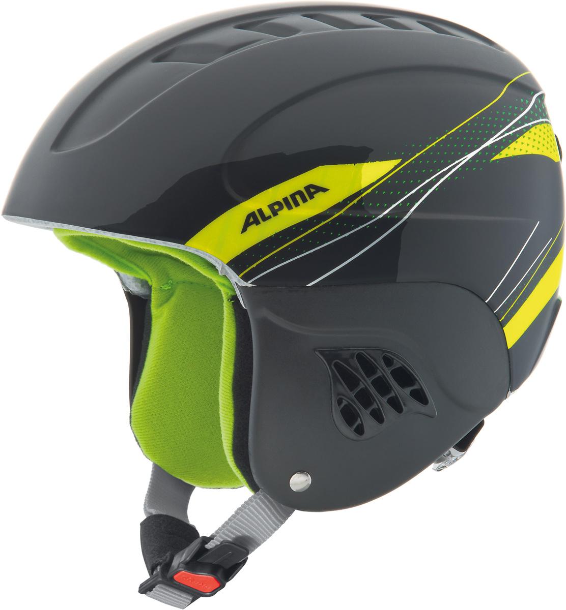 """Шлем горнолыжный детский Alpina """"Carat"""", цвет: черный, зеленый. A9035_34. Размер 48-52"""