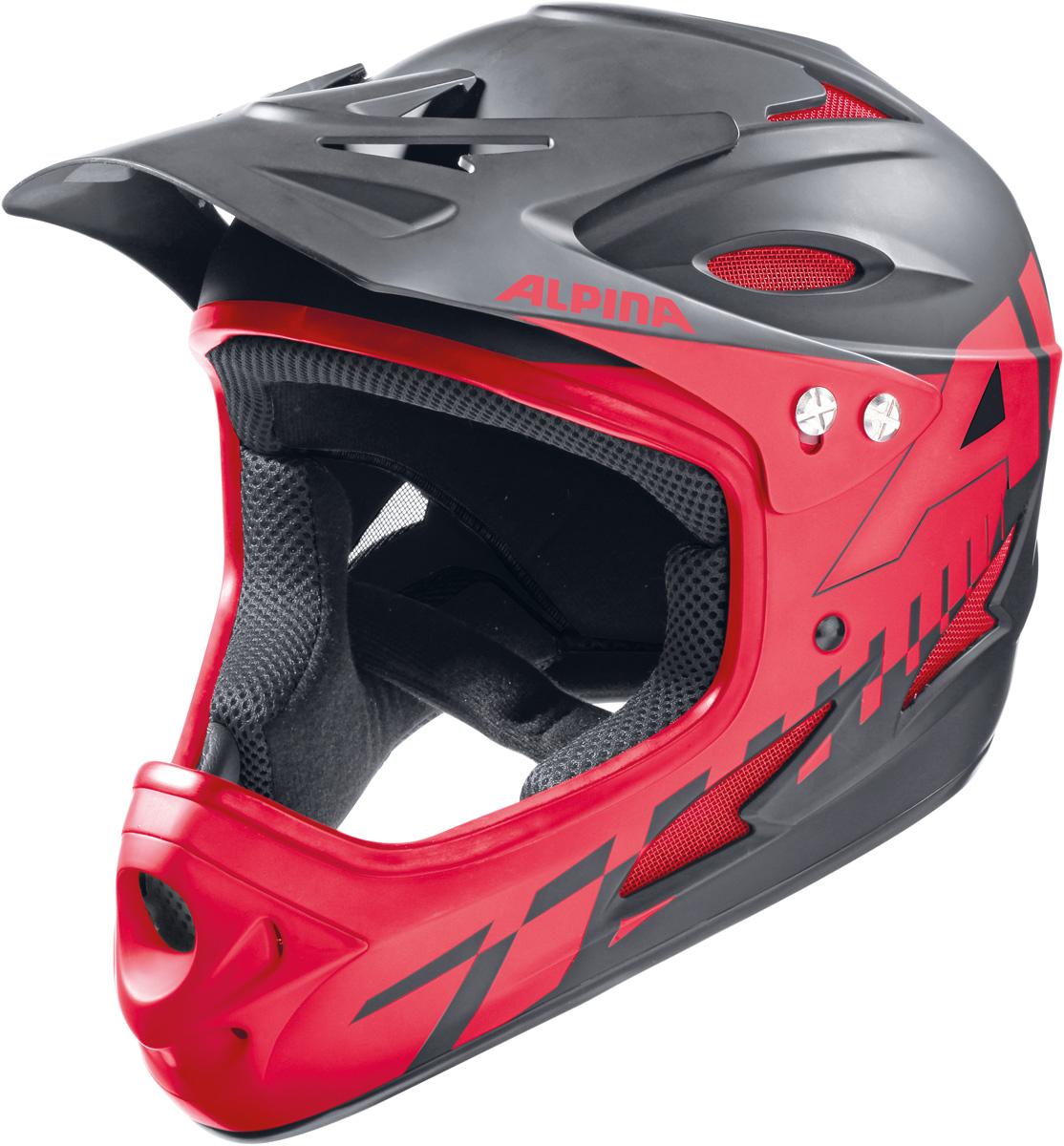 """Шлем горнолыжный Alpina """"Fullface"""", цвет: черный, красный. A9689_32. Размер 57-58"""