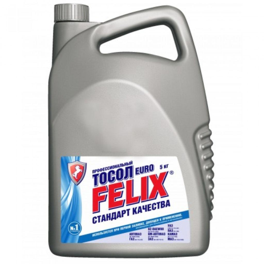 Тосол Felix Euro, 5 л жидкость охлаждающая тосол 45 felix 5 кг