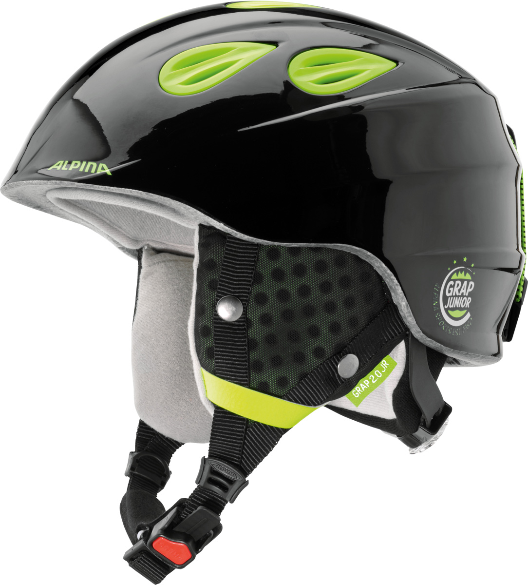 """Шлем горнолыжный Alpina """"Grap 2.0 JR"""", цвет: черный, желтый. A9086_35. Размер 51-54"""