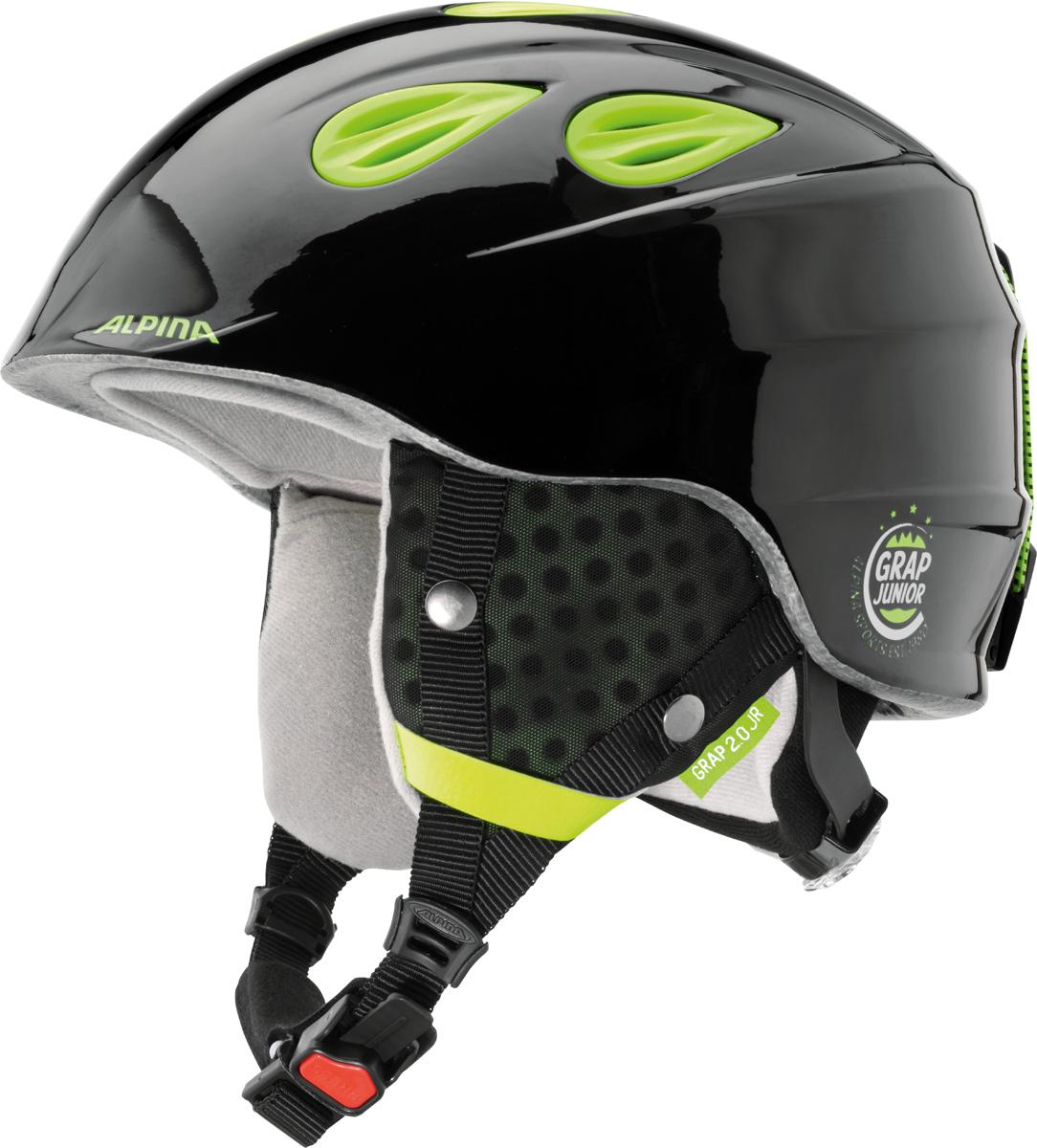 """Шлем горнолыжный Alpina """"Grap 2.0 JR"""", цвет: черный, желтый. A9086_35. Размер 54-57"""