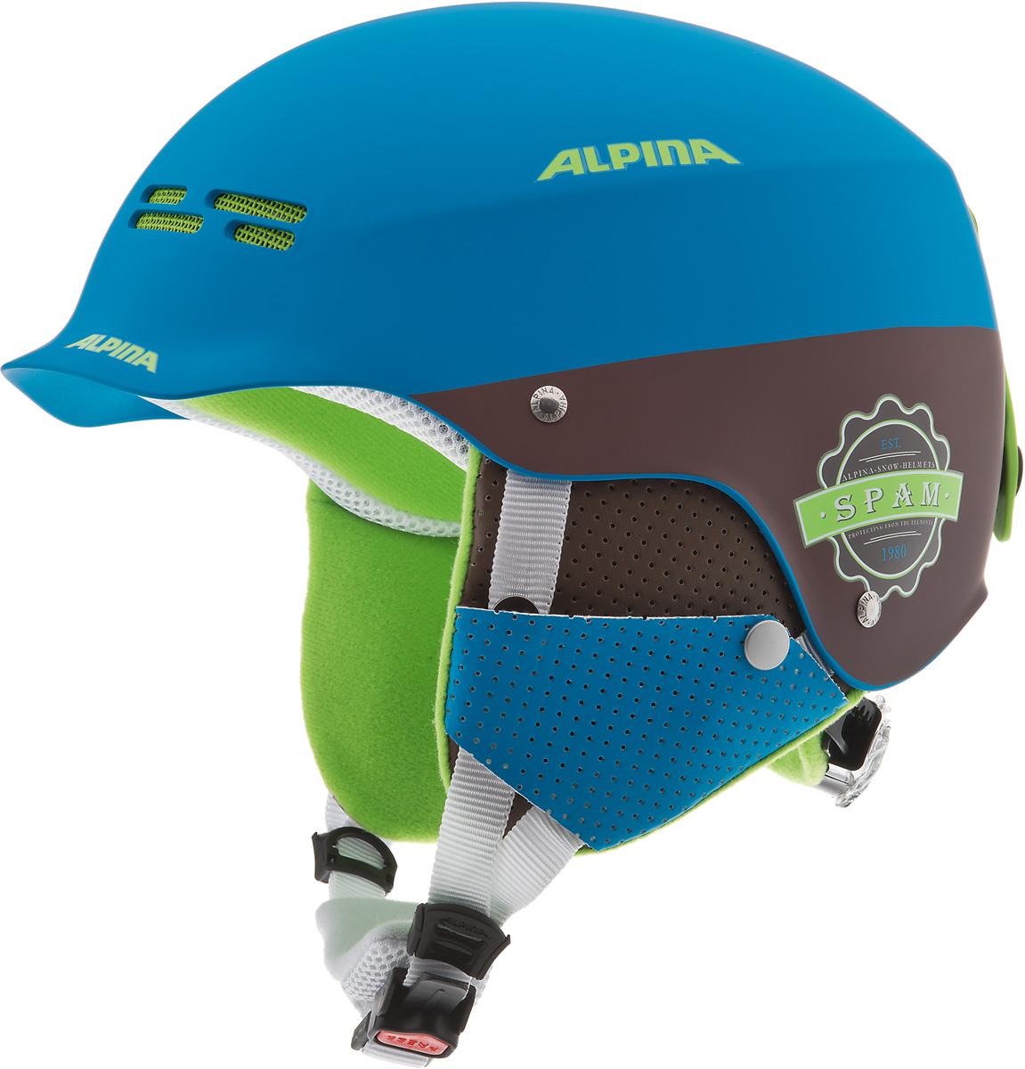 """Шлем горнолыжный детский Alpina """"Spam Cap JR"""", цвет: синий, коричневый. A9064_83. Размер 50-54"""