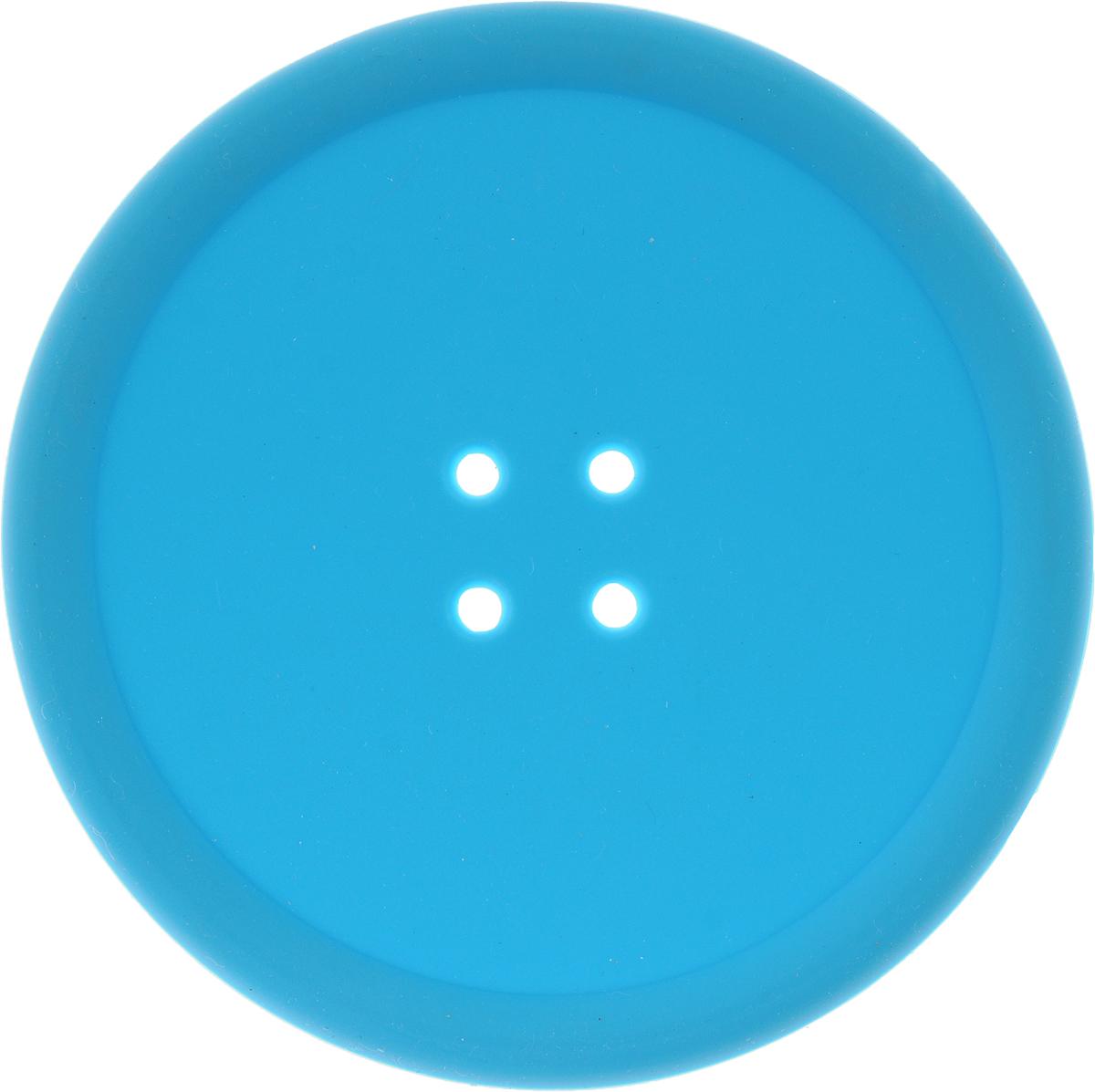 """Подставка термостойкая Marmiton """"Пуговка"""", цвет: голубой, диаметр 10 см"""