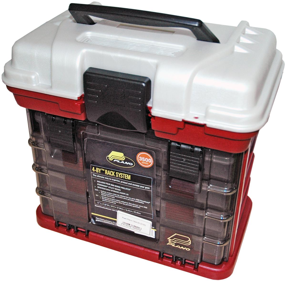 Ящик рыболовный Plano, с верхним отсеком для аксессуаров, цвет: красный металлик, серебристый