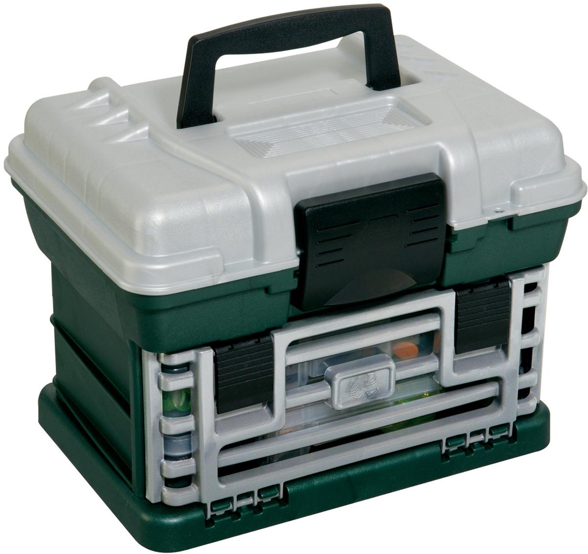 Ящик рыболовный Plano, с верхним отсеком для аксессуаров, цвет: зеленый. 1362-00