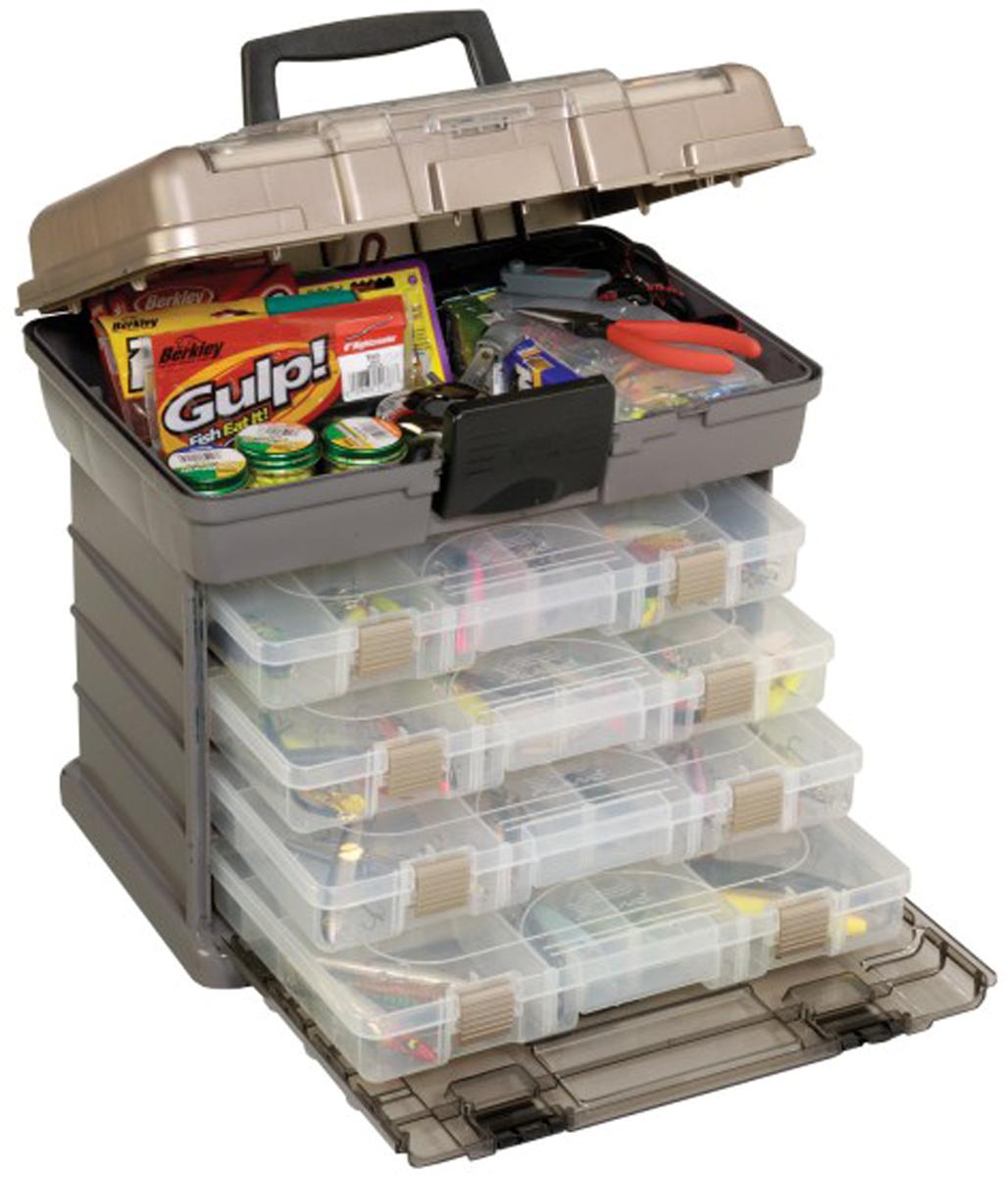 Ящик рыболовный Plano, c верхним отсеком для аксессуаров, цвет: серый. 1374-01