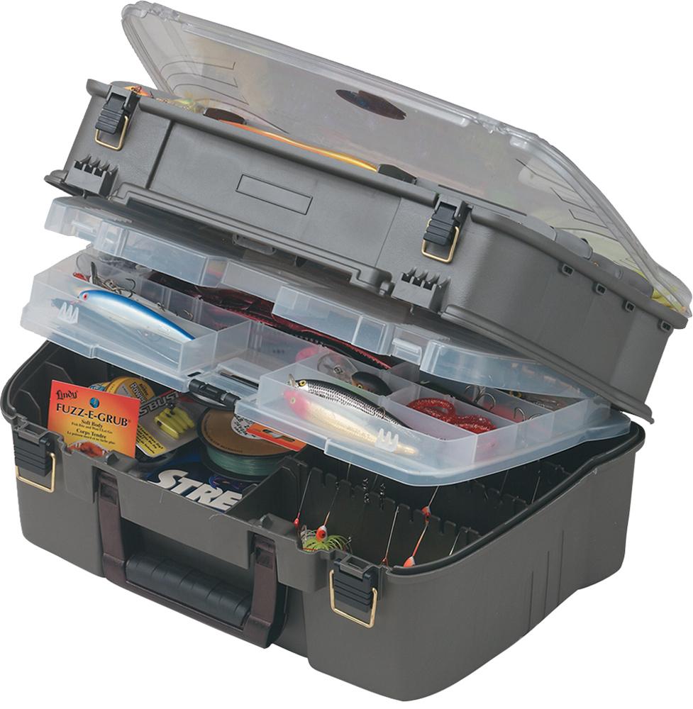 Ящик рыболовный Plano, с 4-х уровневой системой, для приманок и аксессуаров, цвет: серый