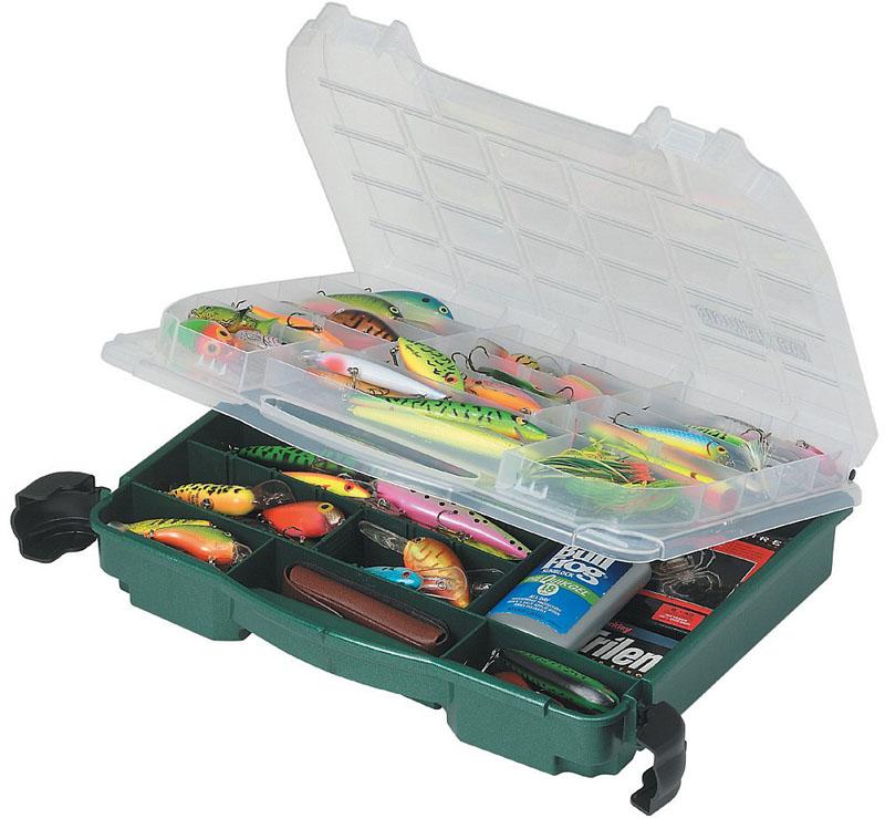 Ящик рыболовный Plano, двухуровневый, для приманок и аксессуаров, цвет: зеленый. 3950-10 ящик рыболовный plano с верхним отсеком для аксессуаров цвет зеленый 1362 00