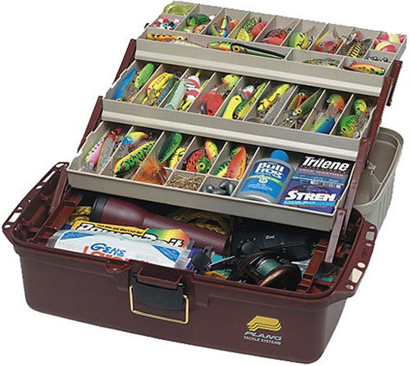 Ящик рыболовный Plano, с 4-х уровневой системой хранения приманок, цвет: коричневый ящик рюкзак рыболовный формула рыбалки зимний 3 яруса