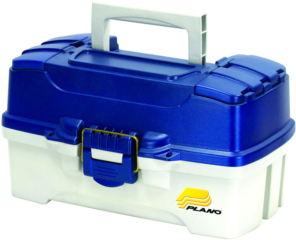Ящик рыболовный Plano, с 2-х уровневой системой хранения приманок и 2 боковыми отсеками на крышке, цвет: синий, белый