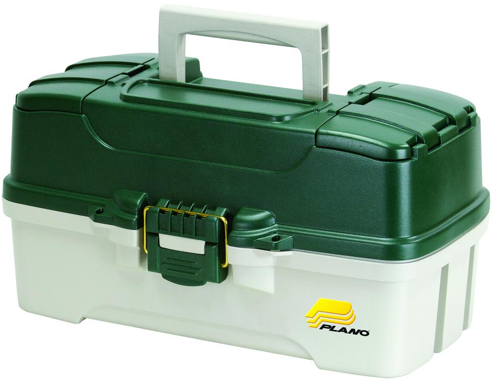 Ящик рыболовный Plano, с 3-х уровневой системой хранения приманок и 2 боковыми отсеками на крышке, цвет: зеленый, белый ящик рыболовный plano с верхним отсеком для аксессуаров цвет зеленый 1362 00