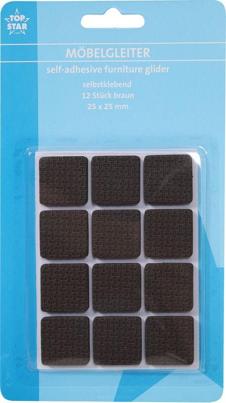 Наклейки для мебели Top Star, защитные, цвет: коричневый, 2,5 х 2,5 см, 12 шт наклейки для мебели top star защитные цвет коричневый диаметр 2 5 см 12 шт