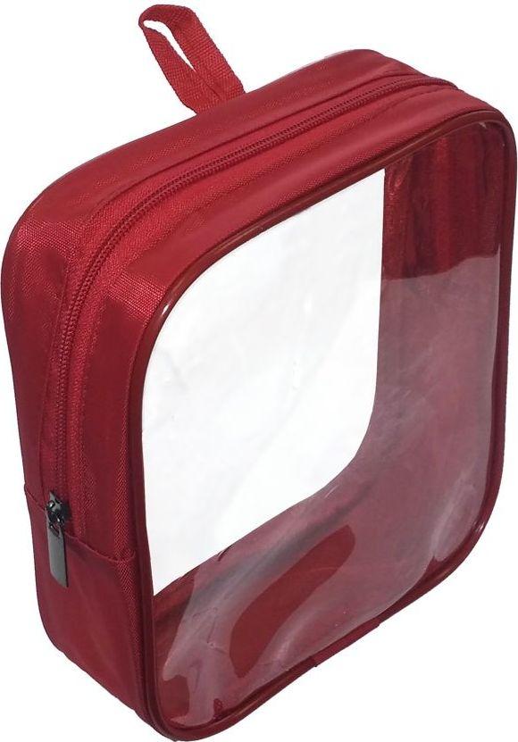 Косметичка Cross Case, цвет: красный, прозрачный. CC-2005 косметичка для жидкостей liquidcase
