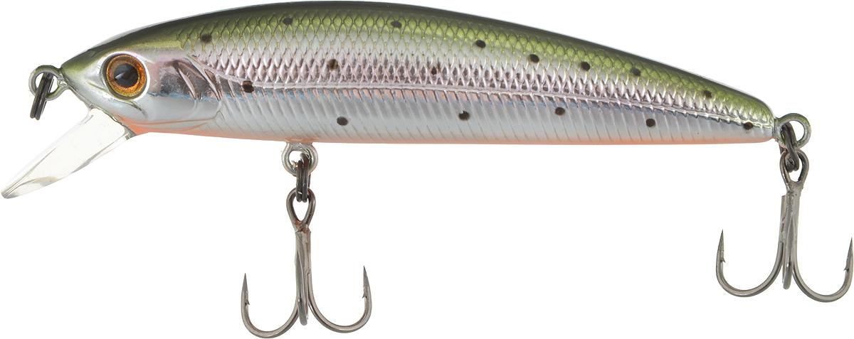 Воблер Tsuribito Minnow 60SP, цвет: серебристый, зеленый (055), длина 6 см, 4 г воблер tsuribito minnow длина 8 см вес 6 4 г 80f 055