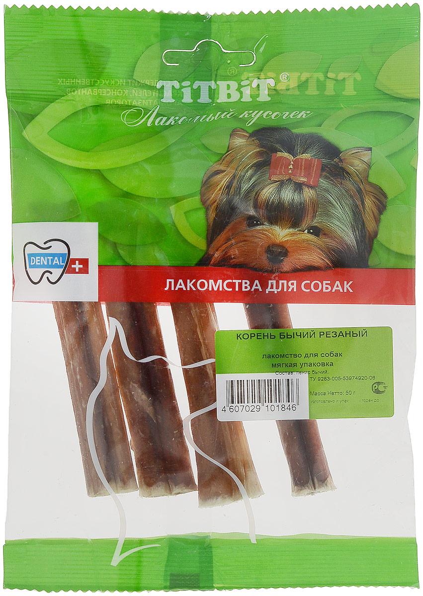 Лакомство для собак мелких пород Titbit, корень бычий резанный, 4 шт