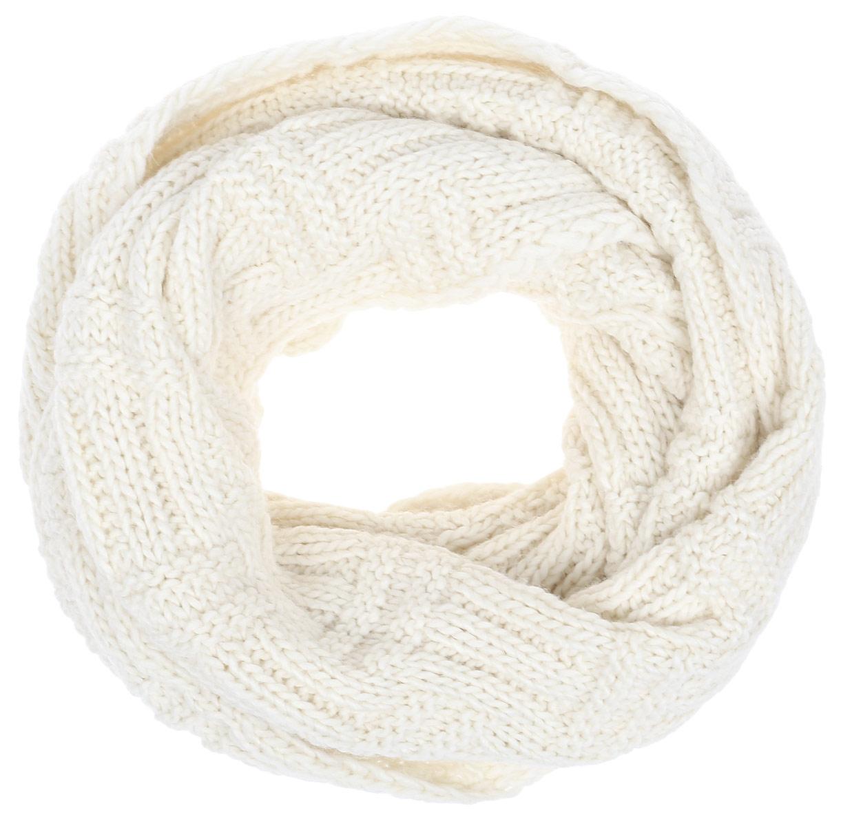 Снуд-хомут женский Flioraj, цвет: молочный. 302FJ. Размер 47 x 80 см302FJКлассический шарф-снуд, выполнен плотной шахматной вязкой. Практичный функциональный, связанный из отборной итальянской овечьей шерсти и шерсти горной альпаки, носится элегантной мягкой восьмеркой, небрежным кольцом на шее или накидкой на голову. Ширина изделия - 47 см, растягивается в длину до 80 см.