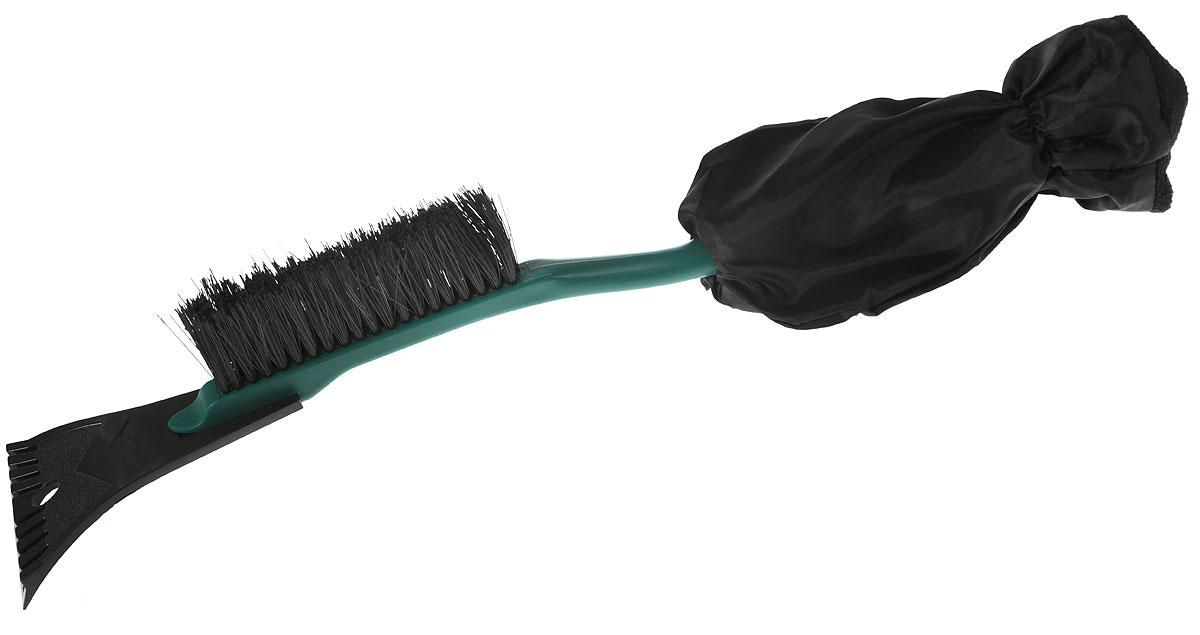 Щетка для снега Sapfire, с варежкой, цвет: темно-зеленый, черный, длина 52 см щетка для снега со скребком sapfire sf 0159