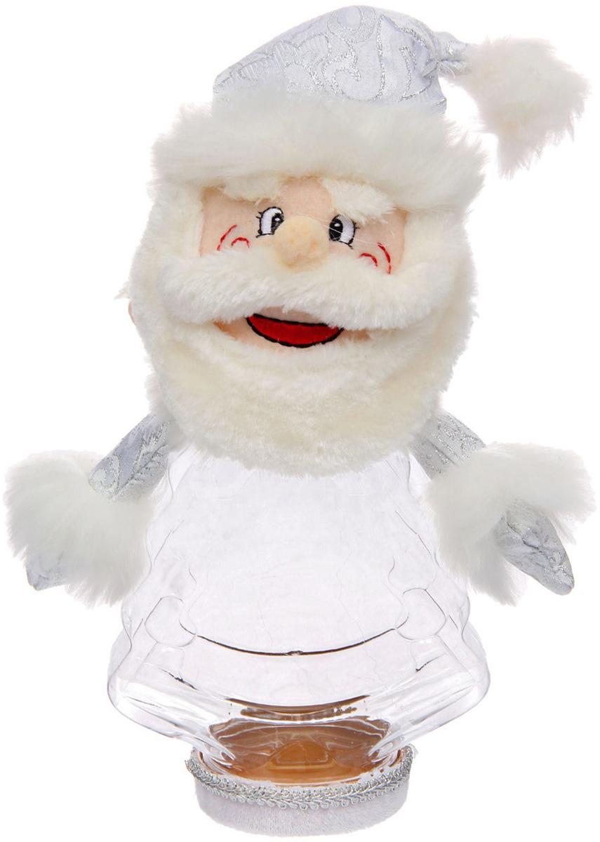 Подарочная упаковка Sima-land Дед мороз, большие усы, цвет: белый, серебристый, вместимость 320 г копилка декоративная sima land мартышка и дед мороз с мешком подарков цвет синий красный коричневый