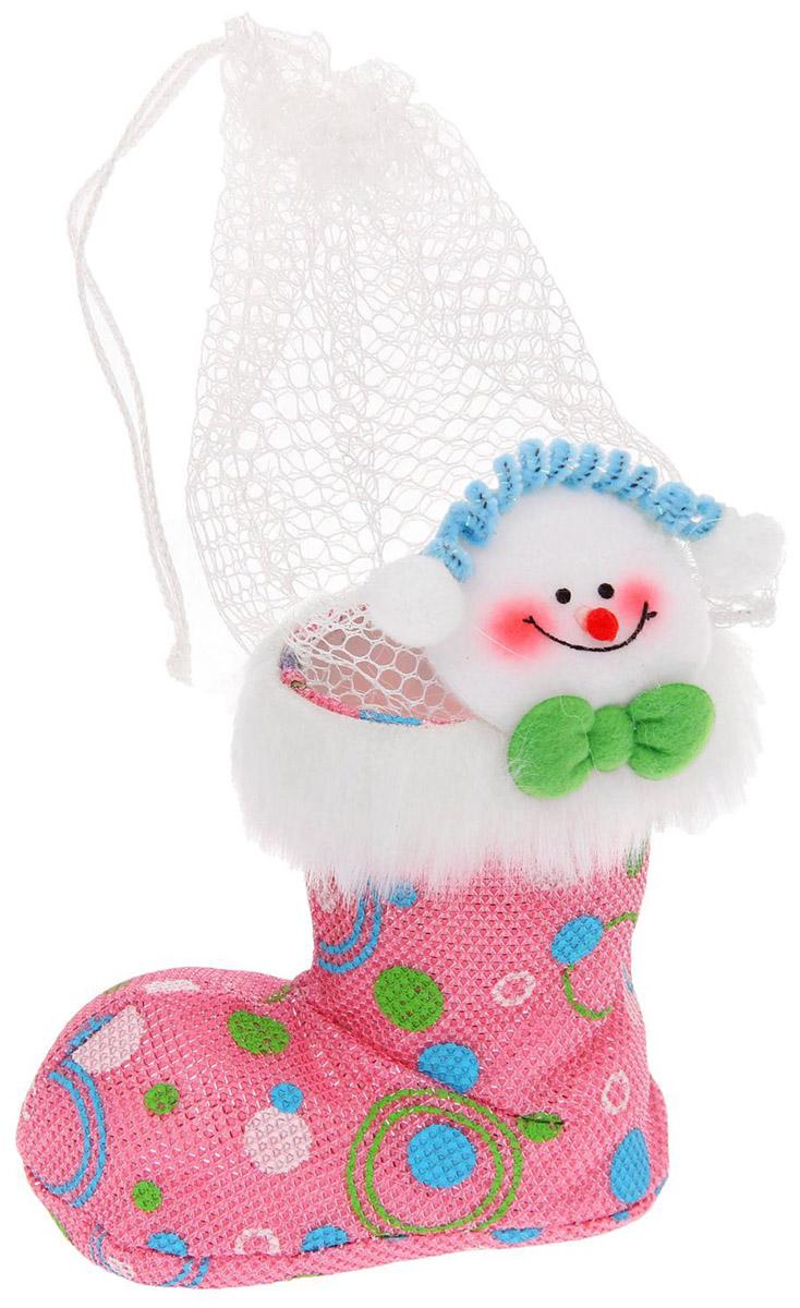 Подарочная упаковка Страна Карнавалия Снеговичек. Зеленый бантик, цвет: розовый, белый упаковка подарочная страна карнавалия конфетница дедушка мороз цвет красный белый