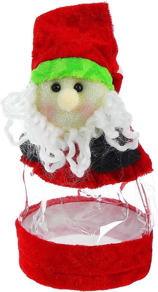 Конфетница Sima-land Дед Мороз, в колпачке, цвет: красный, вместимость 150 г