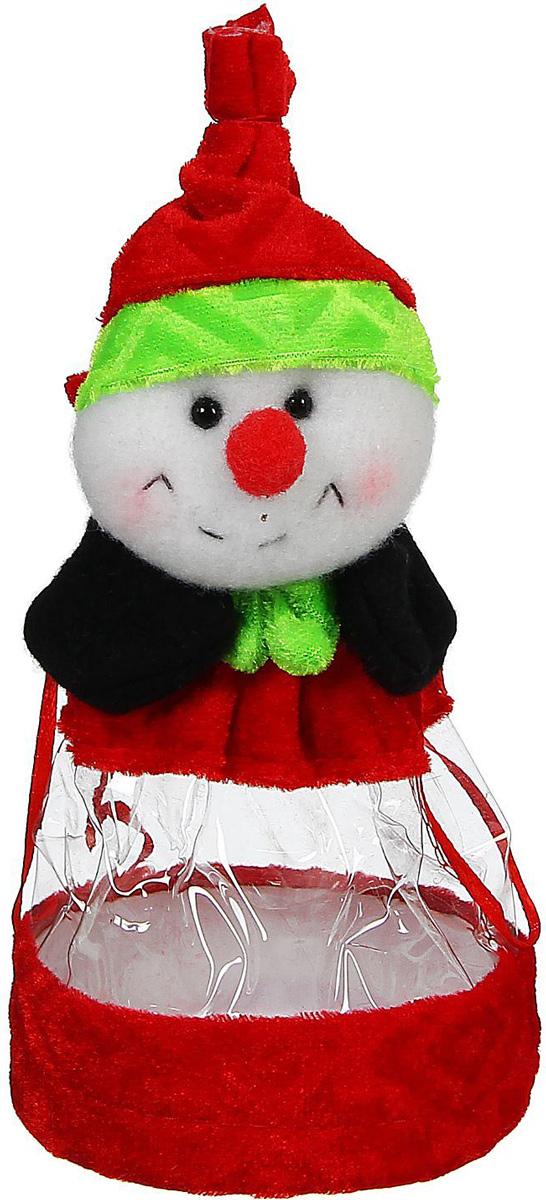 Конфетница Sima-land Снеговик. Красный нос, вместимость 150 г конфетница sima land дед мороз в колпачке цвет красный вместимость 150 г