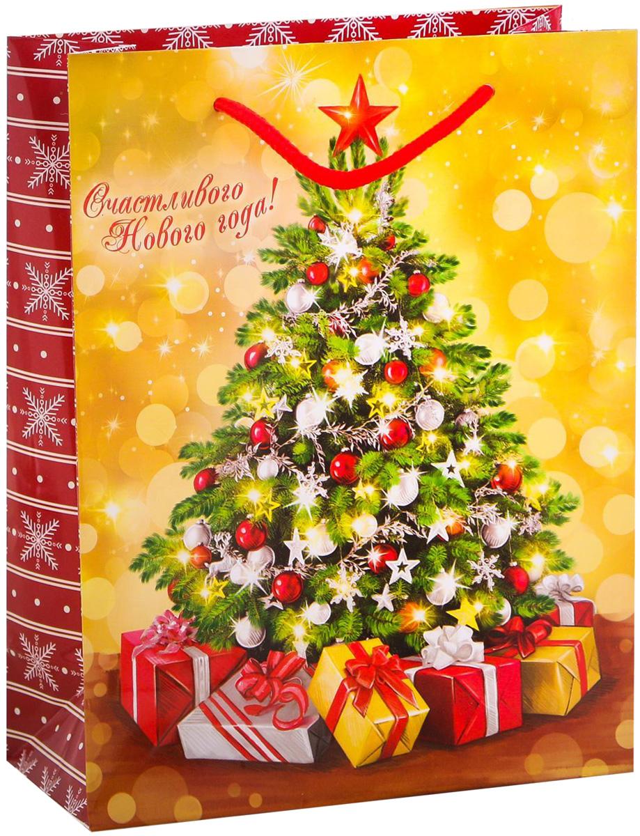 Пакет подарочный Дарите Счастье Ёлочка, гори!, вертикальный, 18 х 23 х 8 см пакет подарочный дарите счастье восторженный друг 18 х 8 х 23 см 1717586