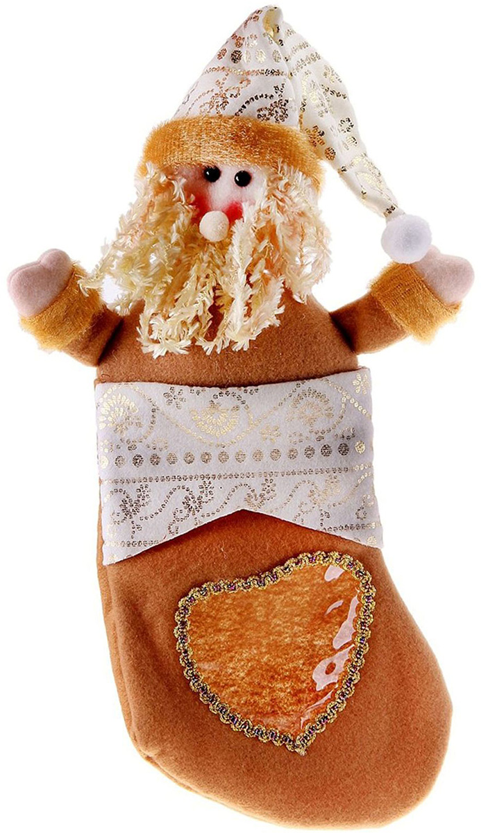 Носок для подарков Sima-land Сердце. Дед Мороз, 34 х 14 см копилка декоративная sima land мартышка и дед мороз с мешком подарков цвет синий красный коричневый