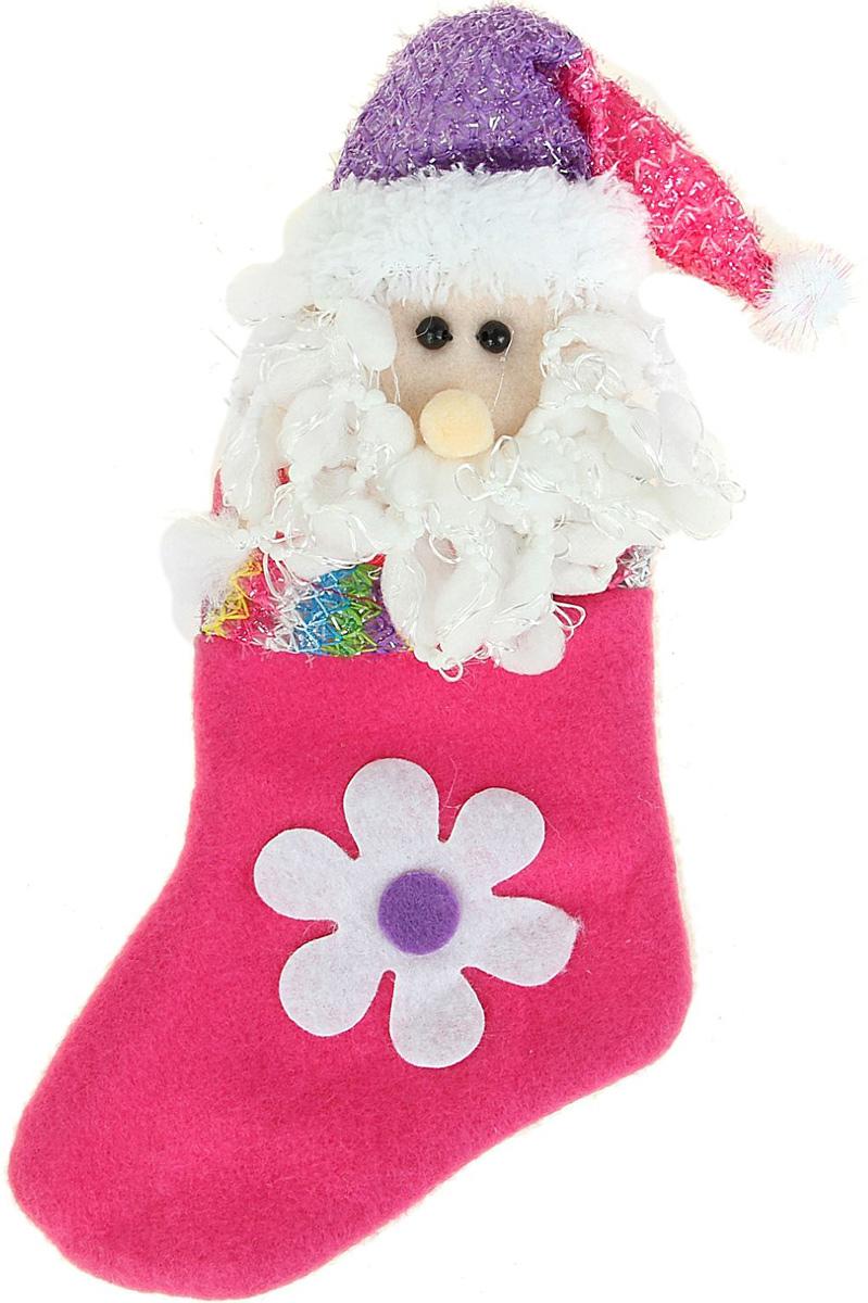 Носок для подарков Sima-land Ромашка. Дед мороз, 23 см копилка декоративная sima land мартышка и дед мороз с мешком подарков цвет синий красный коричневый