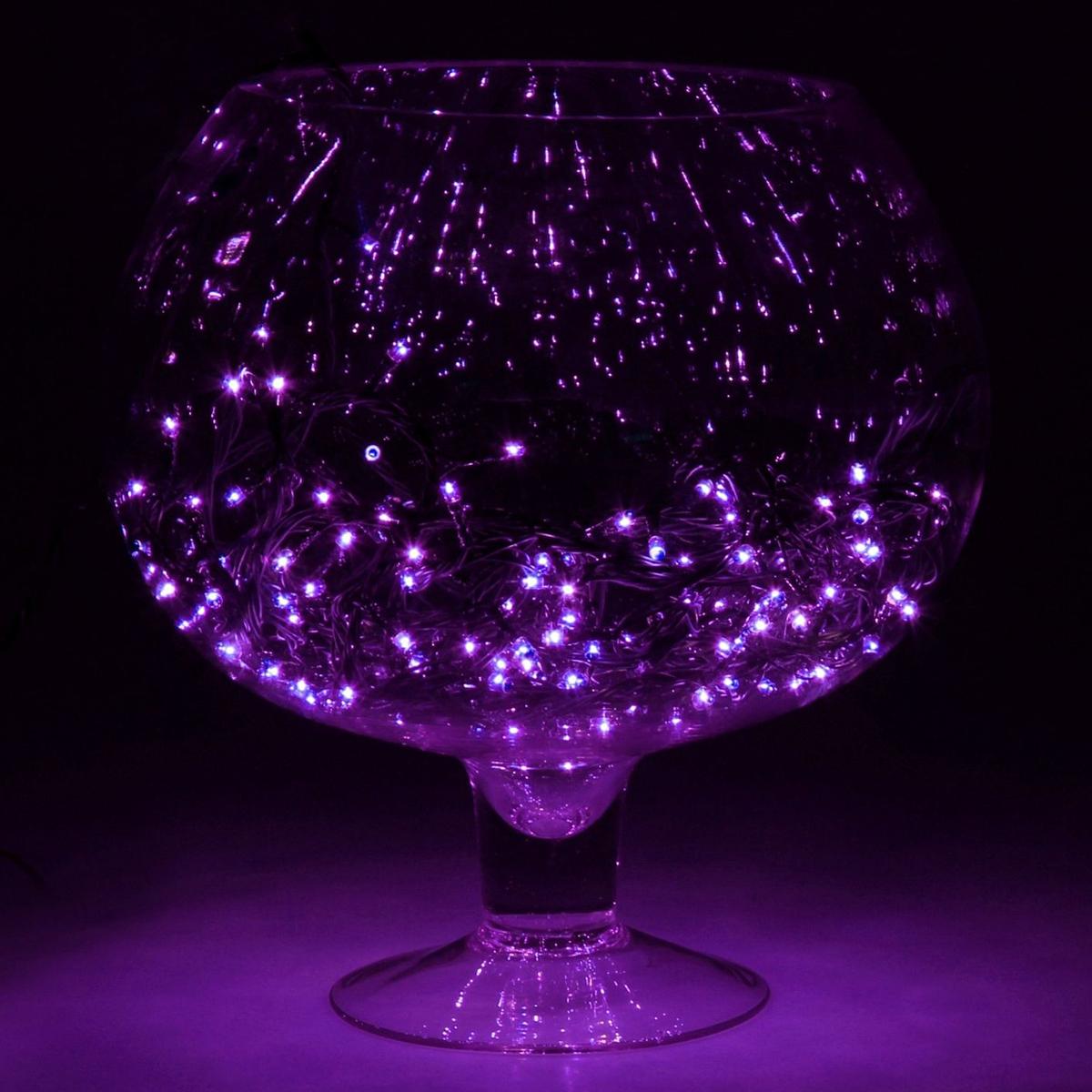 """Гирлянда Luazon """"Метраж"""", 8 режимов, 180 ламп, 220 V, 7 м, цвет: фиолетовый. 187158"""