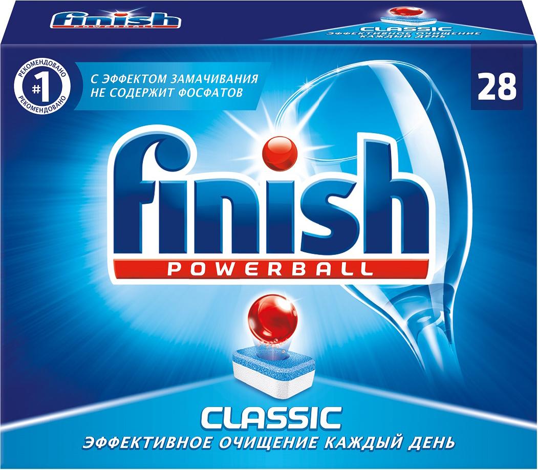 Таблетки для посудомоечной машины Finish Powerball. Classic, 28 шт таблетки для посудомоечной машины пмм finish classic 90 шт