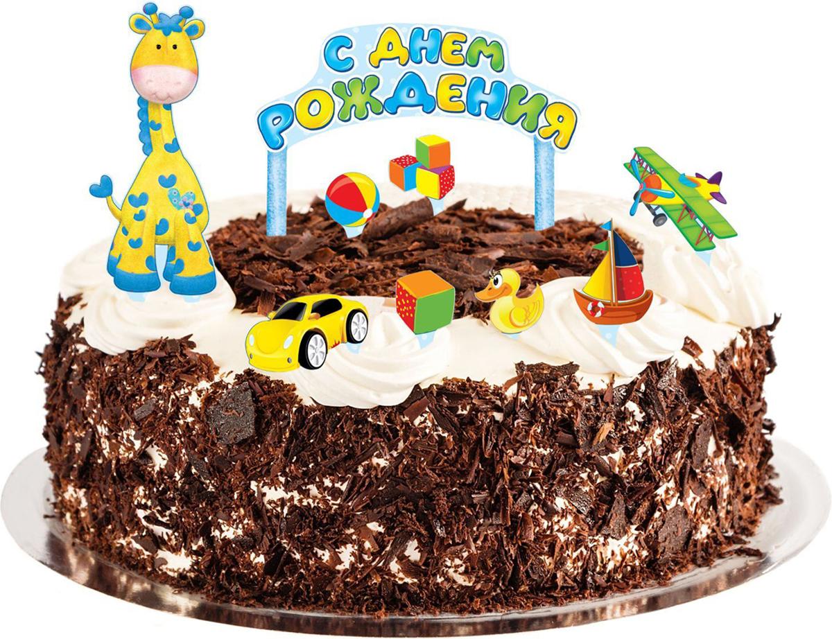 Страна Карнавалия Набор для украшения торта С днем рождения Малыш 1116136 страна карнавалия свечи для торта с днем рождения 420545