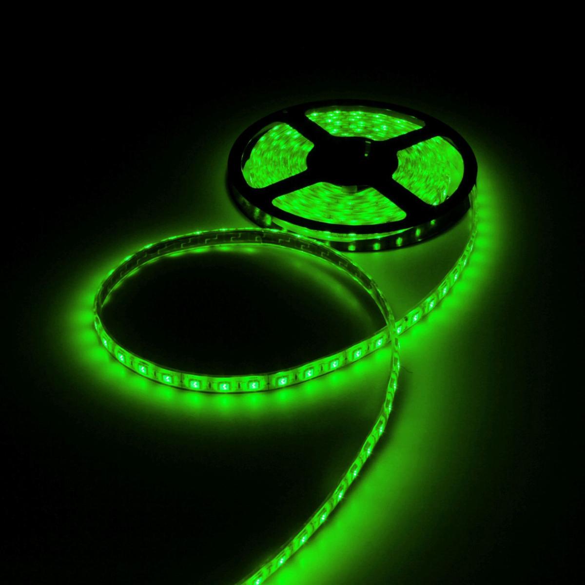 Светодиодная лента Luazon, 12В, SMD5050, длина 5 м, IP68, 60 LED ламп, 14.4 Вт/м, 14-16 Лм/1 LED, DC, цвет: зеленый светодиодная лента luazon 12в smd3528 длина 5 м ip68 60 led ламп 4 8 вт м 6 7 лм 1 led dc цвет фиолетовый
