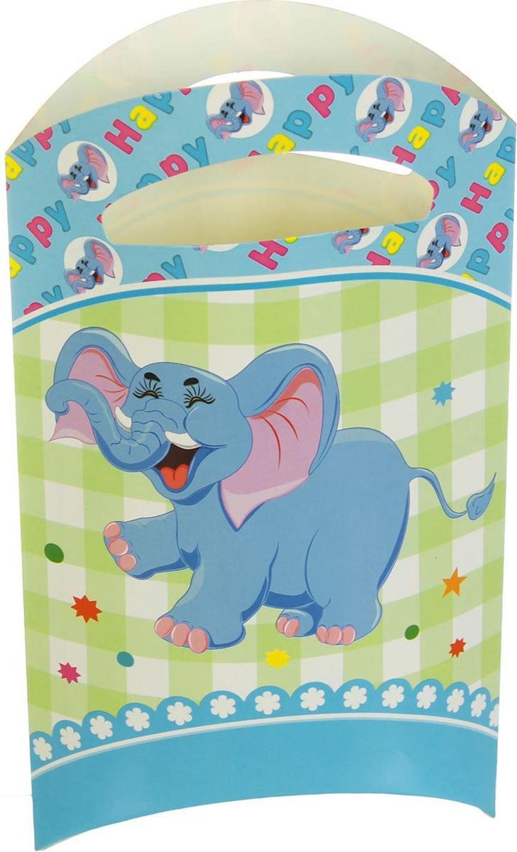 Страна Карнавалия Пакет подарочный Слоник цвет голубой 14 x 24 см 6 шт 1652843