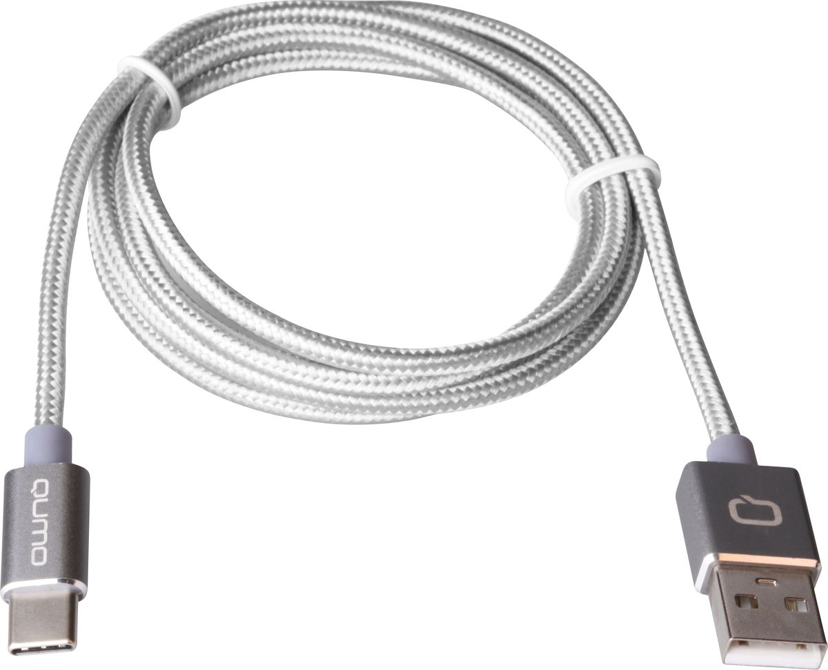 QUMO кабель USB Type-C/USB 2.0 в оплетке, Silver (1 м) (2A) 50pcs micro usb 3 0 male to usb c usb 3 1 type c female extension data cable for macbook tablet 10cm by fedex