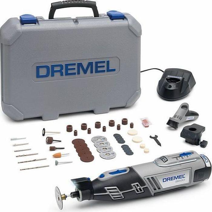 Аккумуляторный многофункциональный инструмент Dremel 8220-2/45, 12V, 1 АКБ, ЗУ. F0138220JJF0138220JJDremel 8220-2/55 - средняя модель в линейке беспроводных инструментов Dremel 8220. Максимальная портативная мощность с Li-Ion аккумулятором! Выполняйте любые проекты как внутри, так и снаружи дома с помощью одного инструмента. Светодиодная подсветка освещает рабочую зону и позволяет работать даже в плохо освещенных местах. Переходите от резки и шлифовки к абразивной обработке, просто сменив насадку, и будьте уверены в высочайшей точности выполнения работ. Аккумулятор и зарядное устройство полностью совместимы с линейкой Bosch 10.8 / 12 V Li-Ion инструмента для домашних мастеров и садовой техники! Технические характеристики: Напряжение аккумулятора: 12,0 В. Емкость аккумулятора: 2,0 Ач. Время зарядки: 1 ч. Регулировка скорости. Система быстрой смены принадлежностей EZ Twist. В комплектацию входят 45 насадок Dremel, 2 приставки, 1 АКБ Li-Ion 12В 2 А/ч, зарядное устройство, пластмассовый кейс. Как выбрать мультитул. Статья OZON Гид Рекомендуем!
