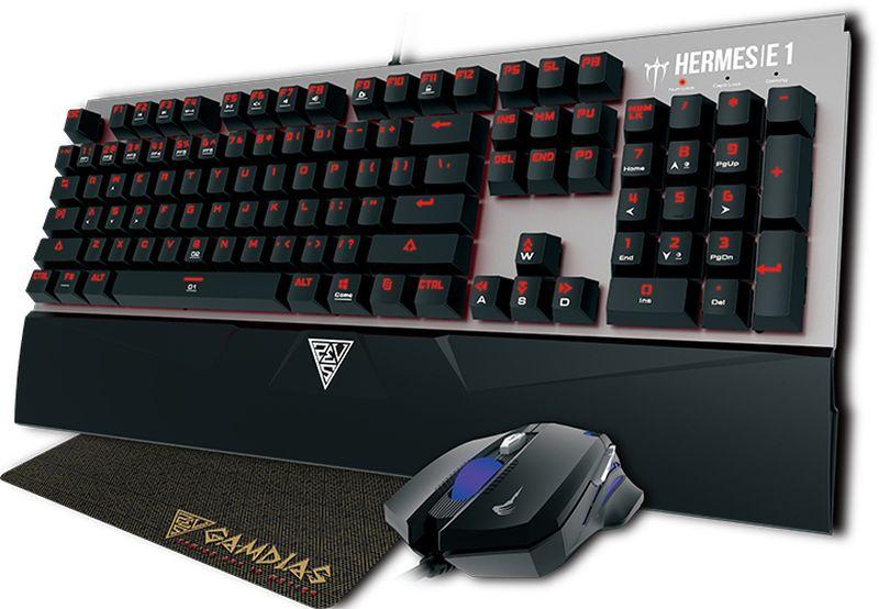 Gamdias Hermes E1, Black комплект клавиатура + игровая мышь с ковриком комбо набор gamdias poseidon e1 gm gks100e1 usb черный мышь клавиатура наушники