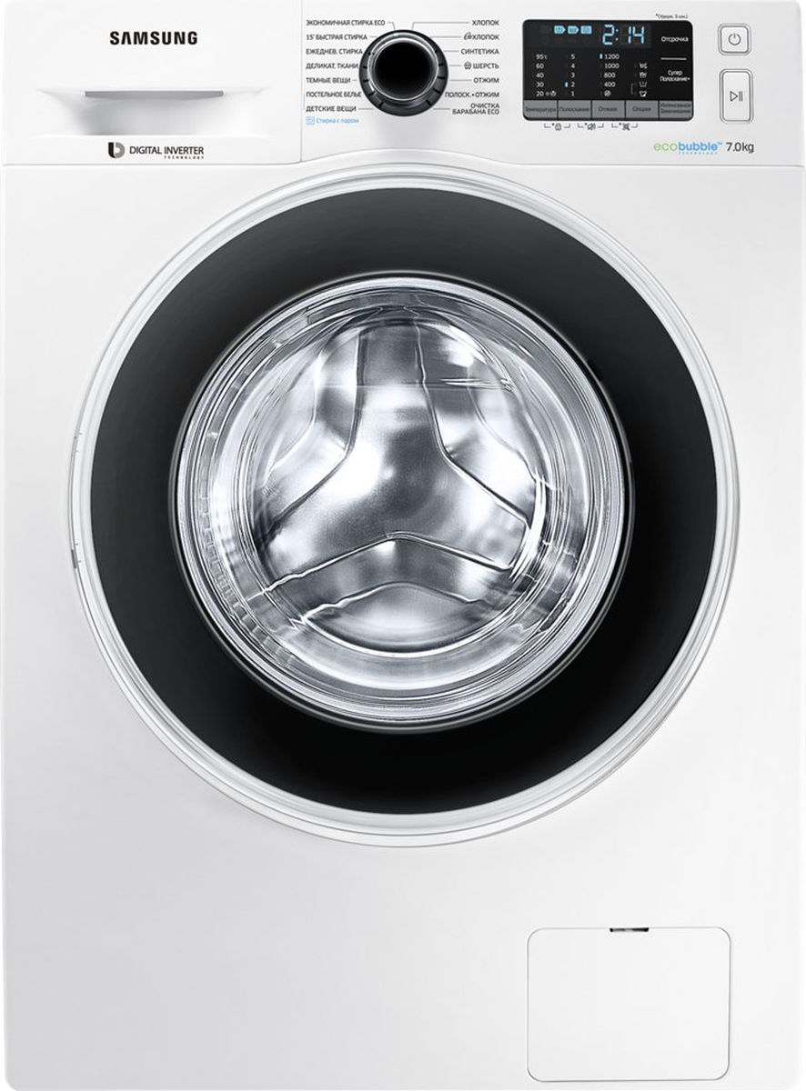 Samsung WW70J52E0HW, White стиральная машинаWW70J52E0HWDLPГабариты (вхшхг) (см): 85х60х45 Количество белья (кг): 7 Скорость отжима (об/мин): 1200 Дисплей: есть Таймер отсрочки стирки: есть Цвет: белый Гарантия: 1 год Страна-производитель: Россия Крупногабаритный товар.