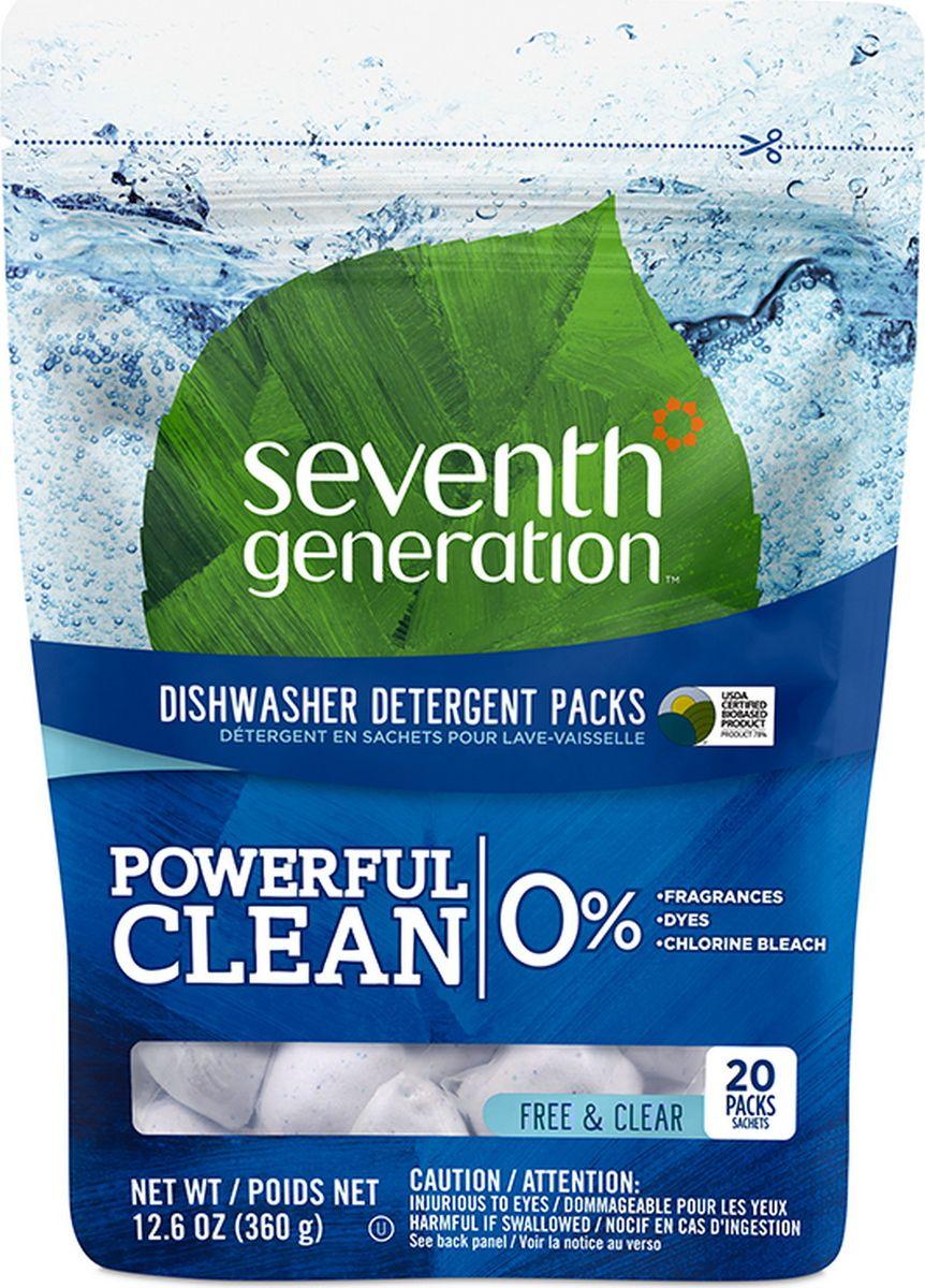 "Капсулы для посудомоечных машин ""Seventh Generation"", без запаха, 20 шт"