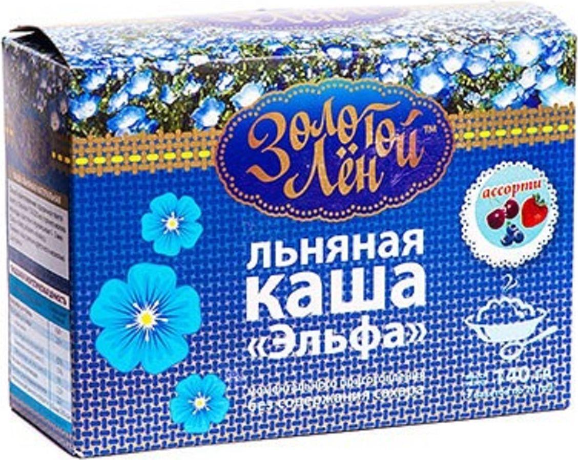 Эльфа Золотой лен каша льняная, ассорти, 7 пакетов по 20 г